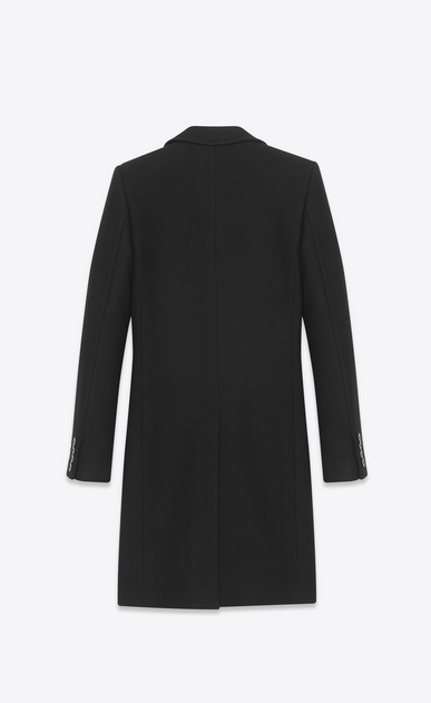 SAINT LAURENT Coats U Classic Stand-Up Collar Chesterfield Coat in Black Cashmere Mélange b_V4