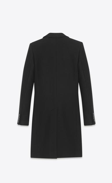 SAINT LAURENT Mäntel U Klassischer Chesterfield-Mantel mit Stehkragen aus schwarzem Kaschmirmischgewebe b_V4
