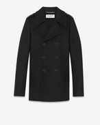 SAINT LAURENT Coats U CLASSIC CABAN TUBE Coat IN Black Wool f