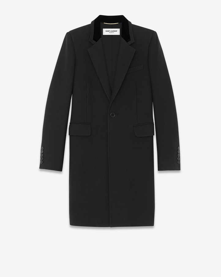 Saint Laurent Chesterfield Military Coat In Black Wool And Velvet