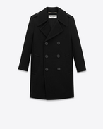 SAINT LAURENT Cappotti D Caban Classic Tube Coat nero in lana f