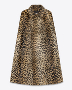 SAINT LAURENT Cape D Cape in Beige and Black Punk Leopard Printed Leather f