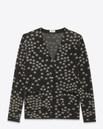 SAINT LAURENT Knitwear Tops D Oversized V-Neck Cardigan in Black and Silver Cotton, Viscose and Polyester Star Jacquard f