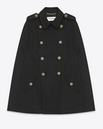 SAINT LAURENT Cape D CABAN Cape in Black Wool Crêpe f