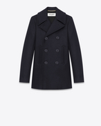 SAINT LAURENT Coats D double breasted caban jacket in navy blue virgin wool f