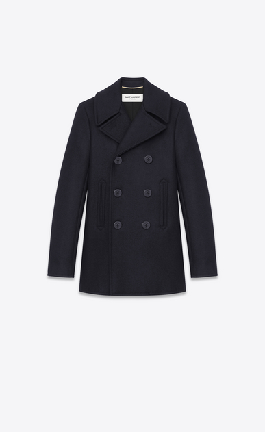 SAINT LAURENT Coats D double breasted caban jacket in navy blue virgin wool a_V4