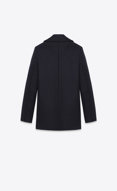SAINT LAURENT Coats D double breasted caban jacket in navy blue virgin wool b_V4