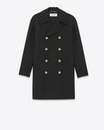 SAINT LAURENT Manteaux D CABAN à double boutonnage oversize en crêpe de laine noir f