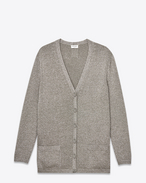 SAINT LAURENT Knitwear Tops D Oversized Cardigan in Silver Viscose and Polyester Lamé f
