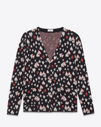 SAINT LAURENT Knitwear Tops D Oversized Cardigan in Black, Ivory and Red Heart Woven Cotton, Mohair and Polyamide Jacquard f