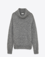 SAINT LAURENT Knitwear Tops D Oversized GRUNGE Turtleneck in Heather Grey Mohair, Nylon and Wool f