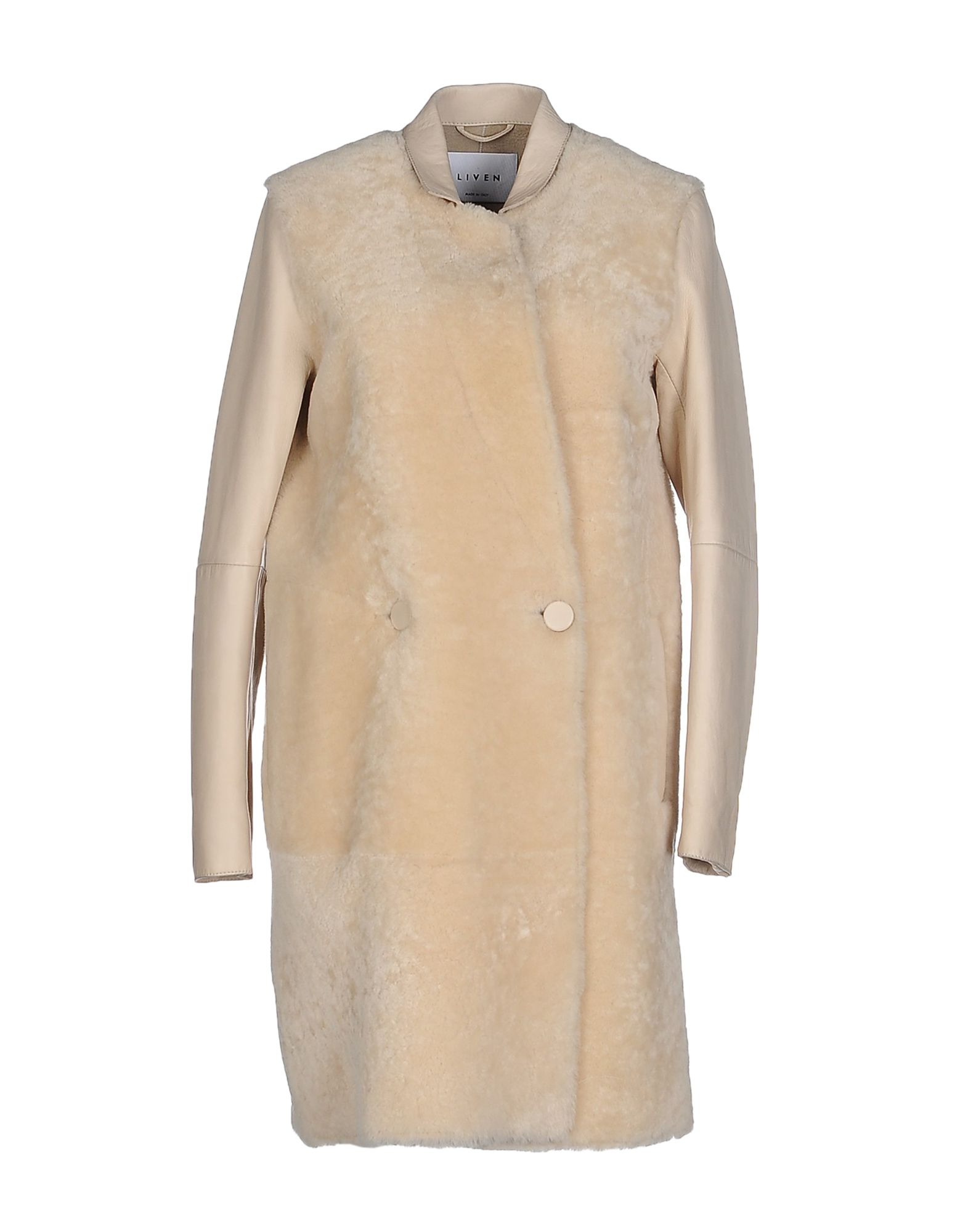 LIVEN Double Breasted Pea Coat in Beige