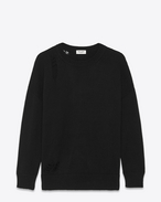 SAINT LAURENT Knitwear Tops D grunge crewneck sweater in black cashmere f