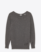 SAINT LAURENT Knitwear Tops D Oversized GRUNGE Crewneck sweater in Heather Grey Cashmere f
