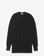 SAINT LAURENT Knitwear Tops D Oversized GRUNGE V-Neck Cardigan in Black Cashmere f