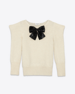 SAINT LAURENT Top Tricot D Maglione SMOKING Bow color avorio in lana e mohair e paillette nere f