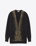 SAINT LAURENT Knitwear Tops D Oversized Milky Way V-Neck Cardigan in Black Wool, mohair and Nylon f