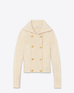 SAINT LAURENT Knitwear Tops D CABAN Sweater Jacket in Ivory Wool f
