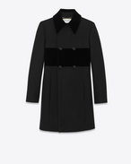 SAINT LAURENT Coats D Double Breasted Baby Doll Coat in Black Virgin Wool f