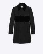 SAINT LAURENT Manteaux D Manteau babydoll à boutonnage double en laine vierge noire f