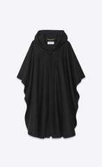 Saint Laurent Hooded Cape In Black Felted Wool Ysl Com