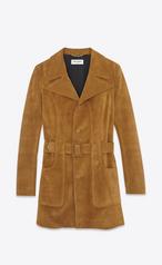 Saint Laurent 70 S Short Belted Coat In Cognac Suede