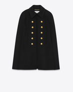 SAINT LAURENT Cape D Short Caban Cape in Black Felted Wool f