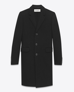 SAINT LAURENT Coats U classic chesterfield black virgin wool and cashmere f
