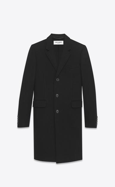 SAINT LAURENT Coats U classic chesterfield black virgin wool and cashmere a_V4