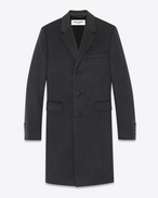 SAINT LAURENT Coats U Classic Chesterfield Coat in Anthracite Cashmere Flannel f