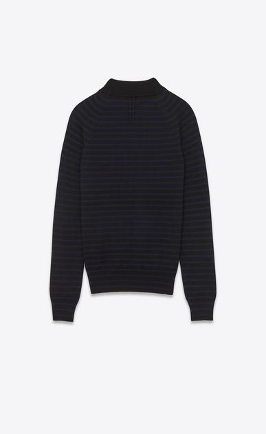 SAINT LAURENT Knitwear Tops U mock turtleneck sweater in navy and black striped merino wool b_V4