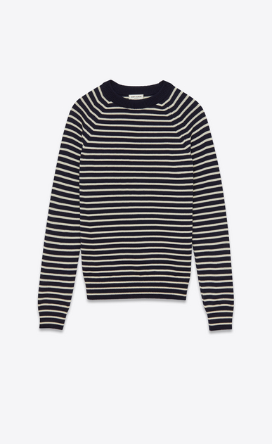 SAINT LAURENT Knitwear Tops U crewneck sweater in navy and white striped merino wool a_V4