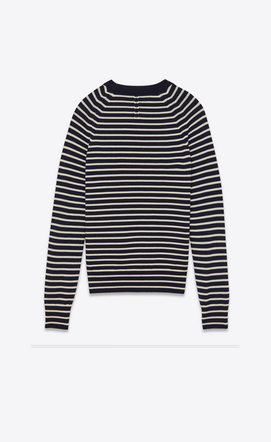 SAINT LAURENT Knitwear Tops U crewneck sweater in navy and white striped merino wool b_V4