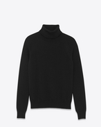 SAINT LAURENT Knitwear Tops U Classic Turtleneck in Black Merino Wool f