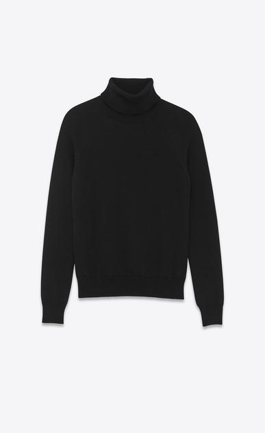 SAINT LAURENT Knitwear Tops U Classic Turtleneck in Black Merino Wool a_V4