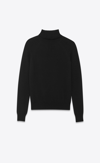 SAINT LAURENT Knitwear Tops U Classic Turtleneck in Black Merino Wool b_V4