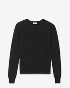 SAINT LAURENT Knitwear Tops U Classic Crewneck sweater in Black Merino Wool f
