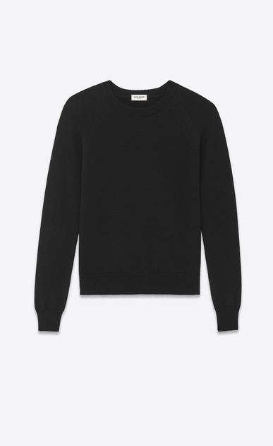 SAINT LAURENT Knitwear Tops U Classic Crewneck sweater in Black Merino Wool a_V4