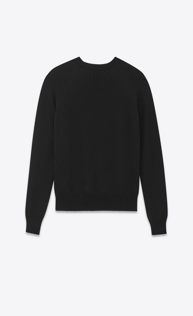 SAINT LAURENT Knitwear Tops U Classic Crewneck sweater in Black Merino Wool b_V4