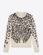 SAINT LAURENT Knitwear Tops U Classic Crewneck Sweater in Ivory and Black Panther Printed Wool f