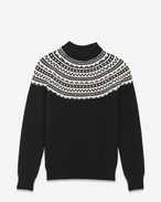 SAINT LAURENT Top Tricot U Maglione classic Fair Isle a collo alto nero e avorio in lana f