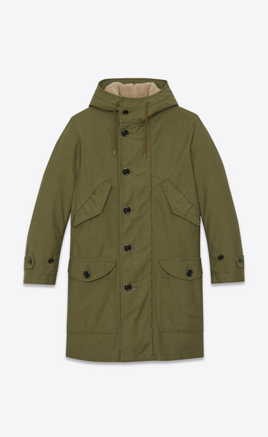 SAINT LAURENT Coats U m51 parka in washed khaki cotton canvas a_V4