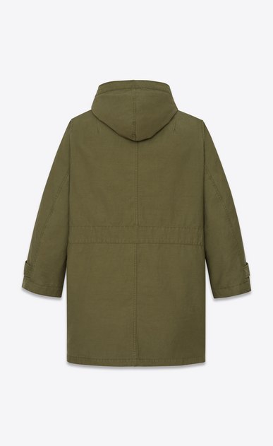 SAINT LAURENT Coats U m51 parka in washed khaki cotton canvas b_V4