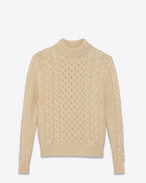 SAINT LAURENT Top Tricot U Maglione classic Fisherman a collo alto avorio in lana f