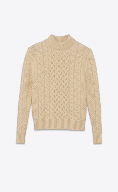 SAINT LAURENT Knitwear Tops U Classic Fisherman Mock Turtleneck Sweater in Ivory Wool a_V4