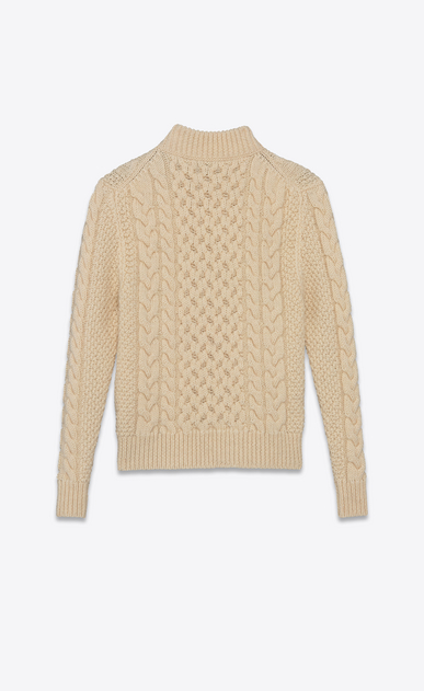 SAINT LAURENT Knitwear Tops U Classic Fisherman Mock Turtleneck Sweater in Ivory Wool b_V4