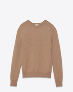 SAINT LAURENT Top Tricot U Maglione classic girocollo beige scuro in pelo di cammello f