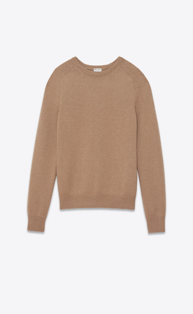 SAINT LAURENT Knitwear Tops U Classic Crewneck sweater in Dark Beige Camel Hair a_V4
