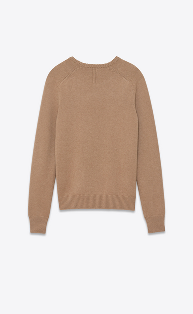 SAINT LAURENT Knitwear Tops U Classic Crewneck sweater in Dark Beige Camel Hair b_V4