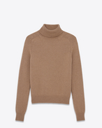 SAINT LAURENT Top Tricot U Dolcevita classic beige scuro in pelo di cammello f